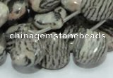 CZJ14 16 inches 16*16mm flat teardrop zebra jasper gemstone beads
