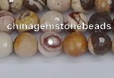 CZJ280 15.5 inches 8mm faceted round zebra jasper beads
