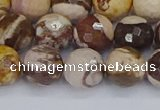 CZJ281 15.5 inches 10mm faceted round zebra jasper beads