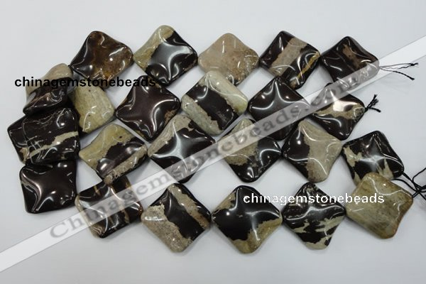 CZJ304 15.5 inches 28*28mm wavy diamond zebra jasper beads wholesale