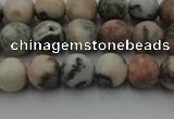 CZJ561 15.5 inches 6mm round matte pink zebra jasper beads