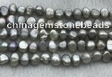 FWP246 15 inches 7mm - 8mm baroque grey freshwater pearl strands