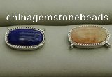 NGC6041 10*16mm oval mixed gemstone connectors wholesale
