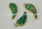 NGP2528 18*40mm - 22*55mm wing-shaped sea sediment jasper pendants
