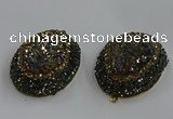 NGP3690 35*45mm oval plated druzy agate gemstone pendants