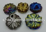 NGP4151 40*45mm - 50*55mm flower plated druzy agate pendants