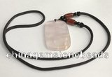 NGP5594 Rose quartz rectangle pendant with nylon cord necklace
