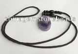 NGP5612 Dogtooth amethyst oval pendant with nylon cord necklace