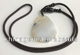 NGP5668 Agate flat teardrop pendant with nylon cord necklace