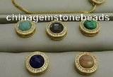 NGP7584 16mm coin mixed gemstone pendants wholesale
