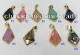 NGP9601 18*25mm faceted plated druzy agate pendants