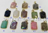 NGP9608 17*22mm faceted rectangle plated druzy agate pendants