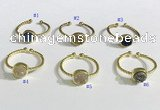 NGR1114 8mm coin  druzy agate gemstone rings wholesale